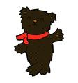 comic cartoon waving teddy black bear vector image vector image