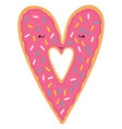 cute pink cartoon donut in vector image vector image