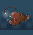 deep sea fish with light pop art vector image vector image