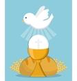 dove cup bread gold religion icon graphic vector image