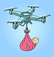 drone stork with newborn baby pop art vector image vector image