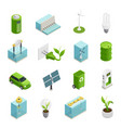 ecology energy isometric icons set vector image vector image