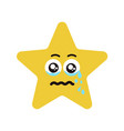 emotional face star cry vector image