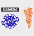fire mosaic gibraltar map and distress british vector image vector image