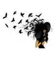 flying birds from the head of a woman in black vector image vector image