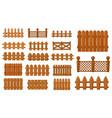 garden and farm cartoon wooden fence set vector image
