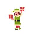 girl elf santa claus helper hold gift box present vector image vector image