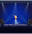 girl singing with microphone on blue stage vector image vector image