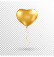 gold heart balloon on transparent background foil vector image