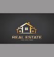 Gold real estate houses logo design vector image