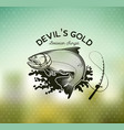 golden dorado fishing emblem on blur background vector image vector image