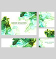green shades ink cards wet liquid hand drawn vector image