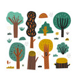 hand drawn forest trees collection isolated on vector image vector image