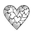heart made hearts sketch vector image
