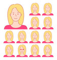isolated set of female avatar expressions vector image