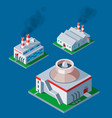 isometric factory building icon industrial element vector image vector image