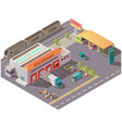 isometric warehouse and petrol station delivery vector image vector image