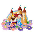 king and queen in flower garden at palace vector image vector image