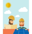 Man putting a solar panel on the roof vector image