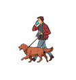 man walks with a dog golden retriever vector image