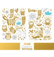 metallic temporary tattoos gold silver and blue vector image