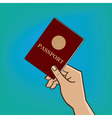 Outstretched hand with passport vector image vector image