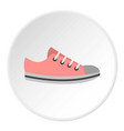 Pink sneakers icon circle vector image