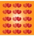 Red hearts on a yellow background vector image vector image