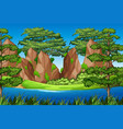 rock mountain in nature landscape vector image