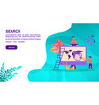 search concept with character template for banner vector image vector image