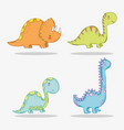 set cute triceratops with diplodocus and vector image