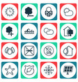 set of 16 eco-friendly icons includes guard tree vector image vector image