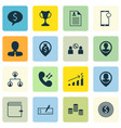 set of 16 management icons includes wallet vector image vector image