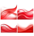 set of red wavy abstract backgrounds vector image vector image