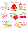 set of summertime icons with cute fruits vector image vector image