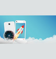 smartphone with toy rocket vector image vector image