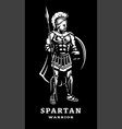 spartan warrior in armor on a dark background vector image
