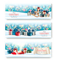 three holiday christmas banners with presents and vector image
