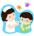 vaccination child cartoon vector image vector image