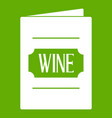 wine list icon green vector image vector image