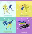 winter sports 2x2 design concept vector image vector image
