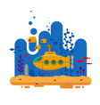 yellow submarine with periscope underwater concept vector image vector image