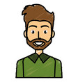 young man with beard avatar character vector image