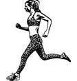 drawing of running woman silhouette vector image