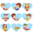 fast food restaurant people icones isolated on vector image