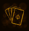 game cards silhouette of lights casino symbol vector image
