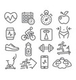 fitness and gym line icons vector image