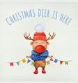 cute christmas deer watercolor character vector image