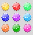 swing icon sign symbol on nine wavy colourful vector image