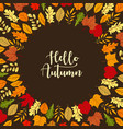 4 frames with autumn leaves in yellow red and vector image